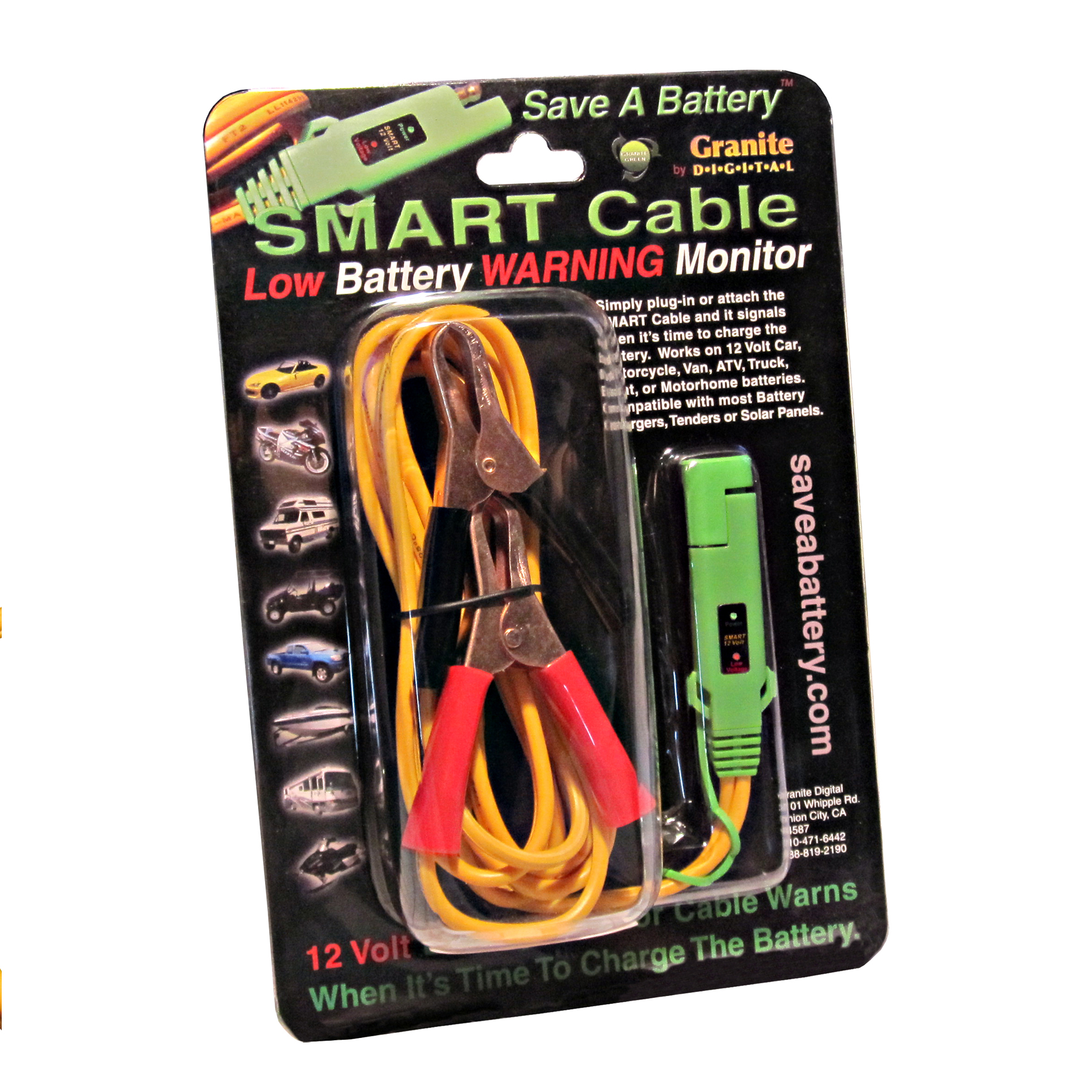 6 Alligator Clip On Battery Connection Smart Cable 12 Volt Wiring W Led Low Voltage Monitor